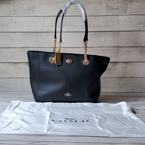 Coach Pebbled Turnlock Chain Leather Tote